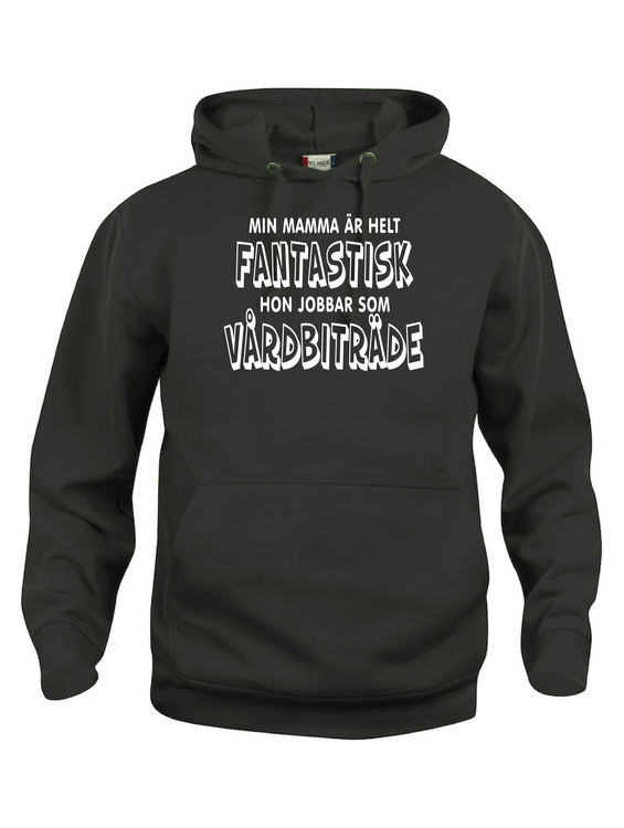 """Hoodtröja Basic """"FANTASTISK ÄR VÅRDBITRÄDE"""""""