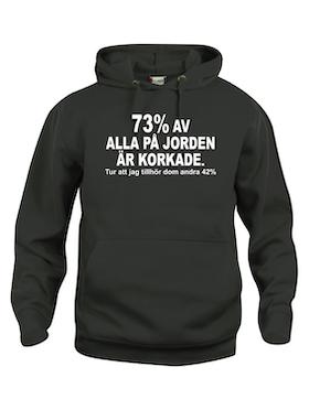 "Hoodtröja Basic ""73% KORKADE & 42% SMARTA"""