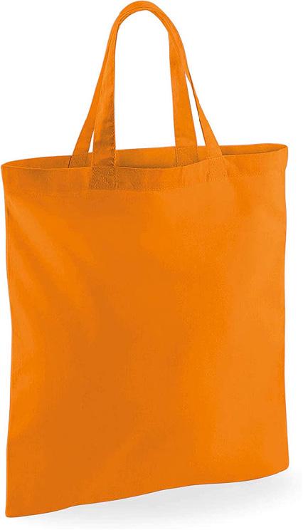 Orange Tygkasse med kort handtag