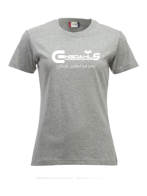 """Grå Dam T-shirt Classic """"Glädje, gåshud och gung"""""""