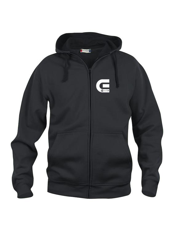 "Svart Hoodjacka ""E-Logo"" Fram"