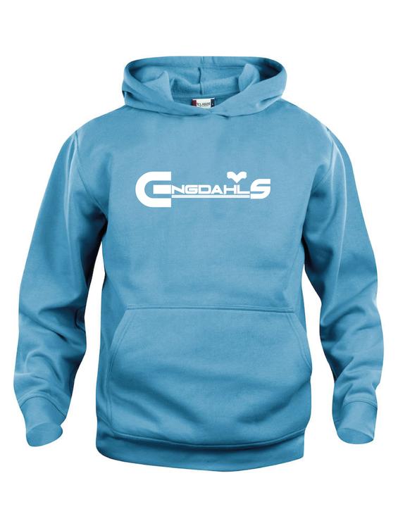 "Turkos Hoodtröja Basic ""Engdahls Logo"