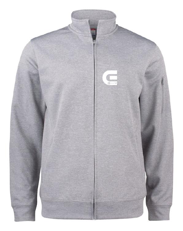 "Grå Cardigan Active ""E-Logo"" fram"
