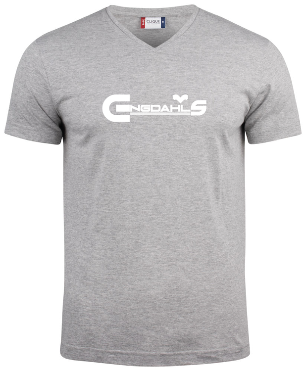 """Grå V-hals T-shirt """"Engdahls Logo"""""""