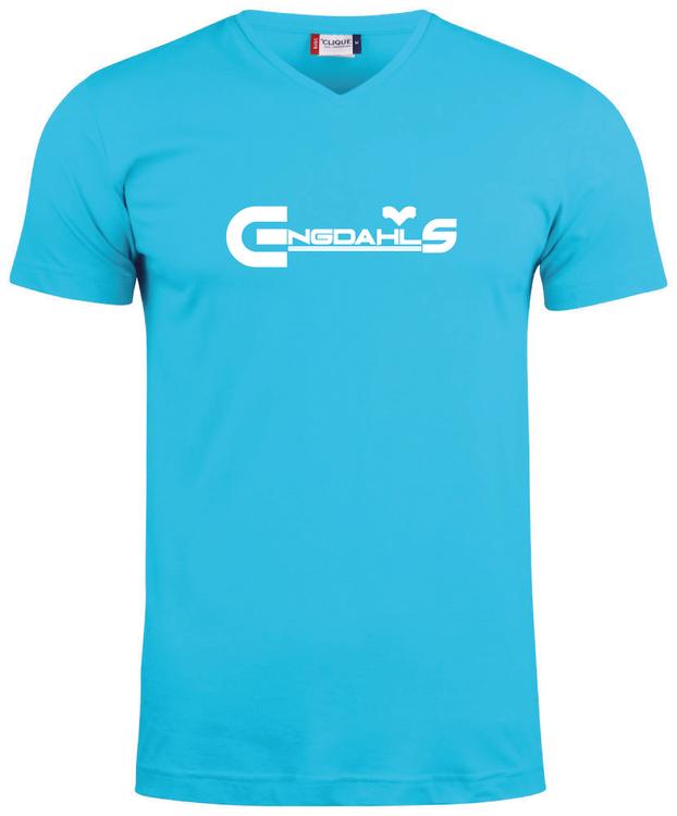"""Turkos V-hals T-shirt """"Engdahls Logo"""""""