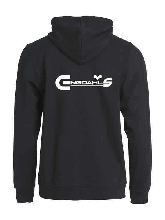 """Svart Hoodjacka """"Engdahls Logo"""" Rygg"""