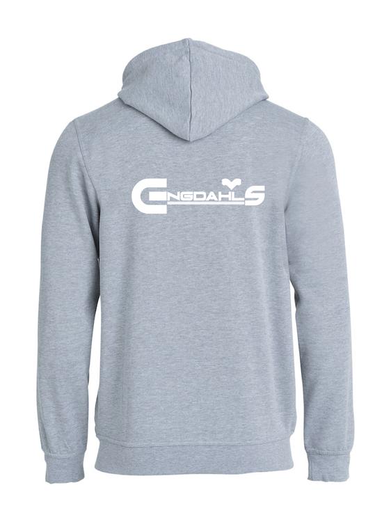 """Grå Hoodjacka """"Engdahls Logo"""" Rygg"""