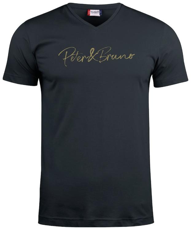 "Svart V-hals T-shirt ""Peter & Bruno"""