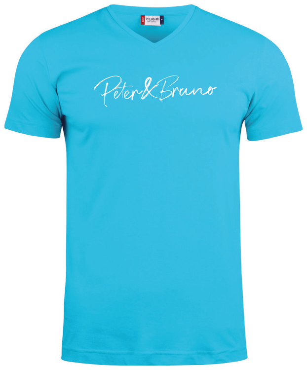 "Turkos V-hals T-shirt ""Peter & Bruno"""