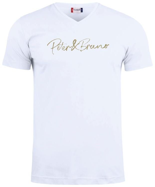 """Vit V-hals T-shirt """"Peter & Bruno"""""""