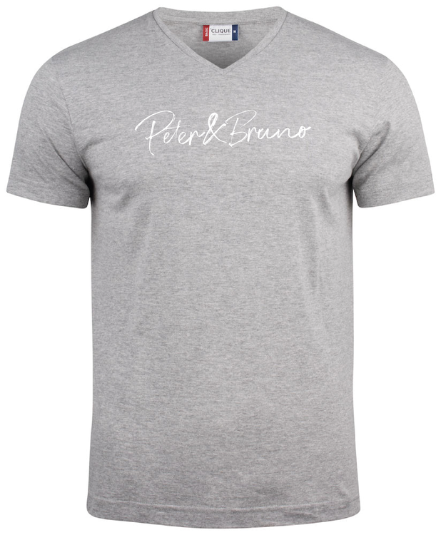 "Grå V-hals T-shirt ""Peter & Bruno"""