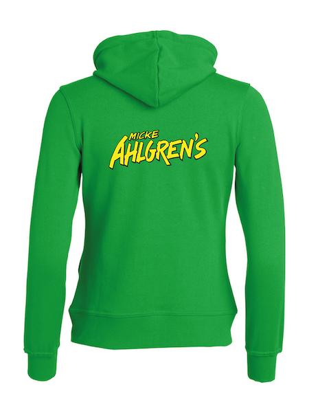 """Grön Dam Hoodjacka """"Micke Ahlgrens"""" rygg"""