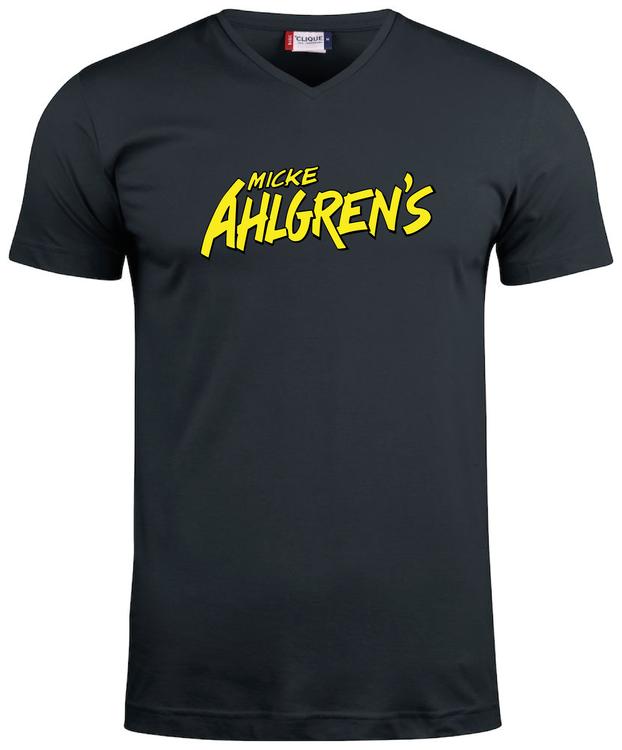 """Svart V-hals T-shirt """"Micke Ahlgrens"""""""