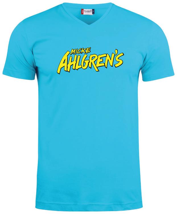"""Turkos V-hals T-shirt """"Micke Ahlgrens"""""""