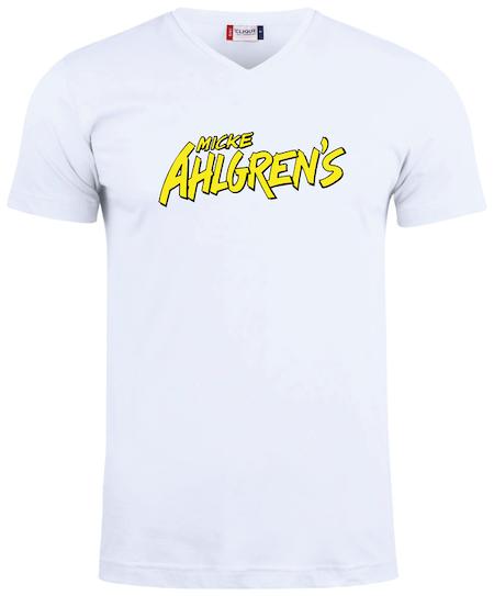 """Vit V-hals T-shirt """"Micke Ahlgrens"""""""