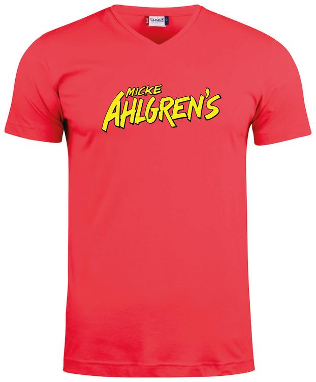 """Röd V-hals T-shirt """"Micke Ahlgrens"""""""