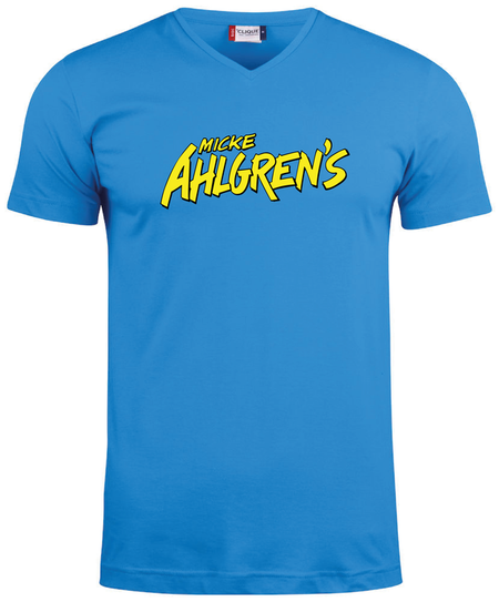 """Blå V-hals T-shirt """"Micke Ahlgrens"""""""