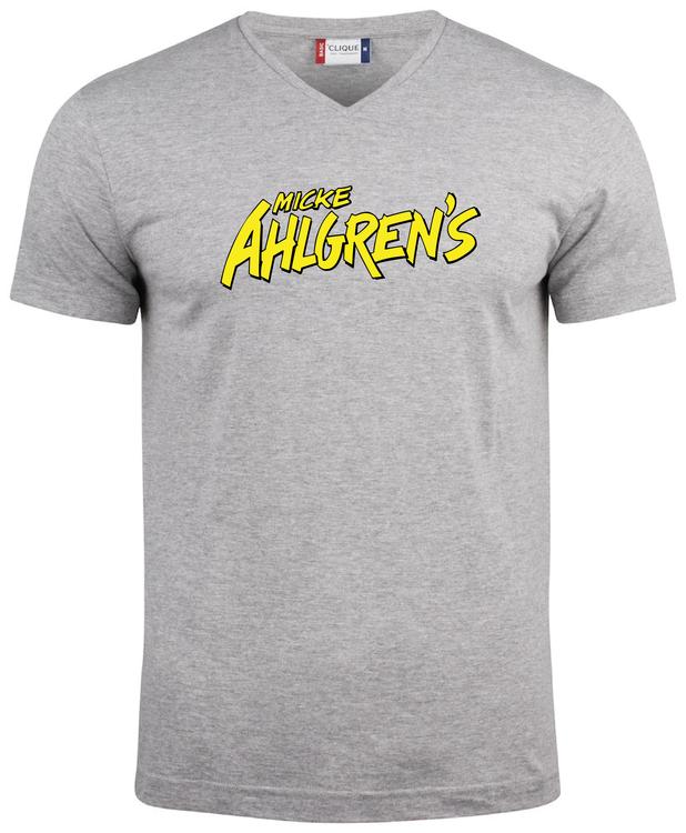 """Grå V-hals T-shirt """"Micke Ahlgrens"""""""