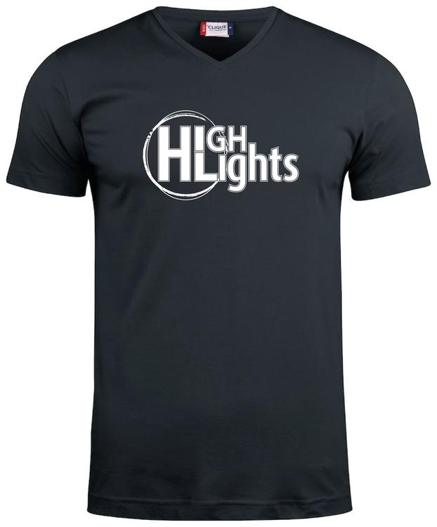 """Svart V-hals T-shirt """"HIGHLIGHTS"""""""