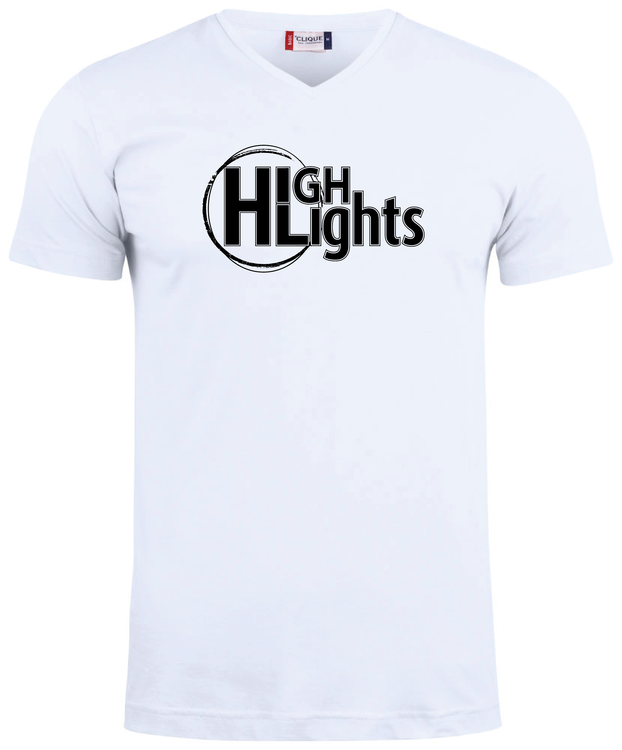 """Vit V-hals T-shirt """"HIGHLIGHTS"""""""