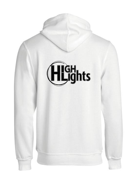 """Vit HOODJACKA """"HIGHLIGHTS"""" rygg"""