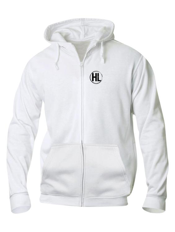 """Vit HOODJACKA """"HIGHLIGHTS Emblem"""" fram"""
