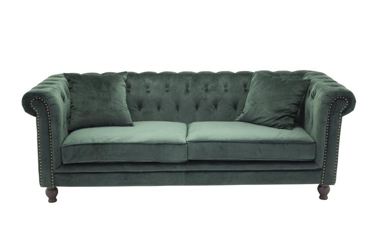 Velvet 3-sits soffa sammet grön