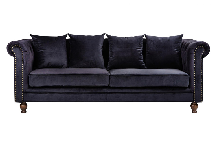 Velvet 3-sits soffa sammet svart