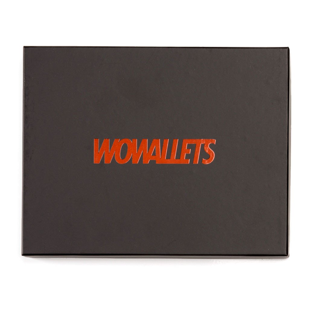 Bild på Wowallet presentask med texten Wowallets i orange färg