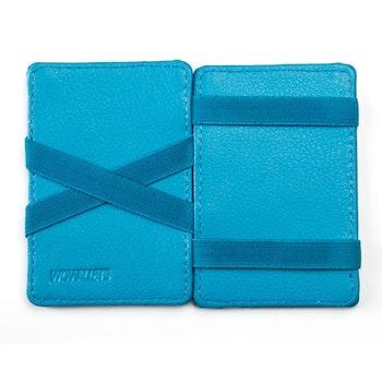 Insida på plånbok i blått läder från Wowallet med dess unika insida för att fästa sedlar och kvitton