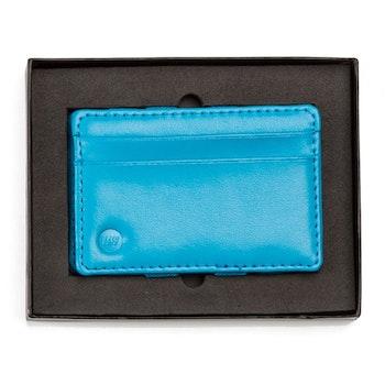 Blå läderbörs från wowallets med liggande kortfickor i presentask
