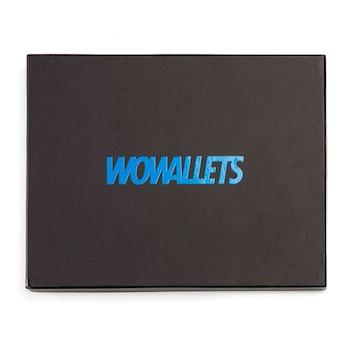 Svart Wowallet presentask för blå läderbörs med texten Wowallets i blått
