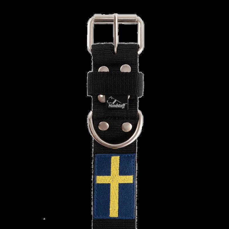 Active Sweden 4cm brett hundhalsband med svenska flaggan