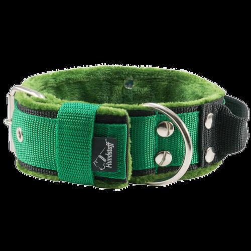 Grip Green - 5cm brett grönt hundhalsband med handtag