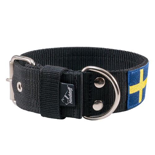 Active Sweden 4cm wide dog collar with the Swedish flag