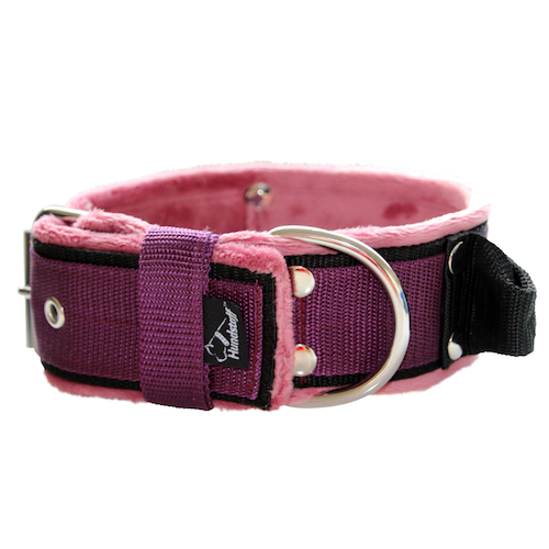 Grip Plum - 5cm wide plum colored dog collar with handle