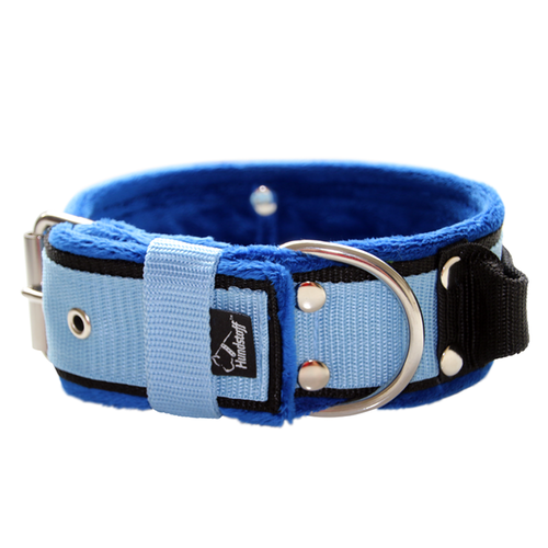 Grip Baby Blue - 5cm wide light blue dog collar with handle