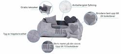 Platinum light grey - ljusgrå hundbädd med namn