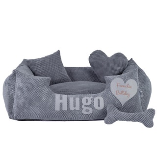 Platinum gray - gray dog bed with name