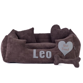 Platinum brown - brown dog bed with name