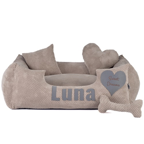 Platinum beige - beige dog bed with name