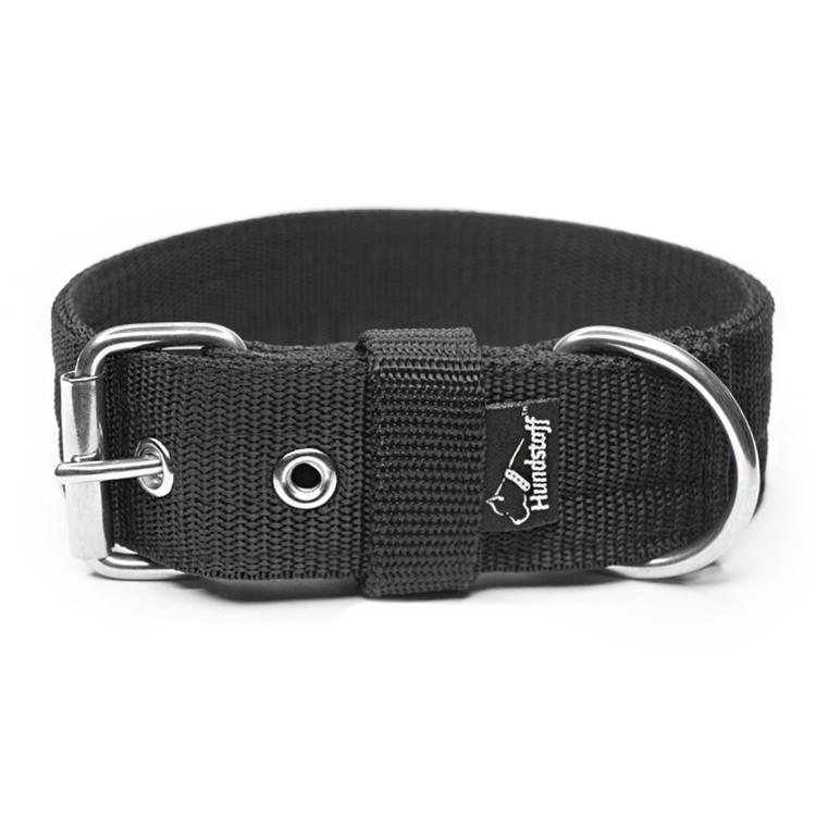 Grip Black - 5cm brett svart hundhalsband med handtag