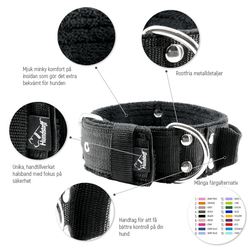 Grip Black - brett svart hundhalsband med handtag