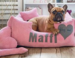 Platinum pink - rosa hundbädd med namn