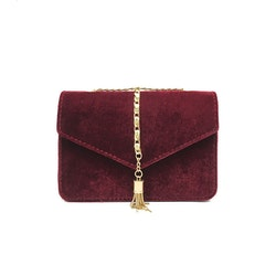 Crossbody Tassel Velour Bag Red