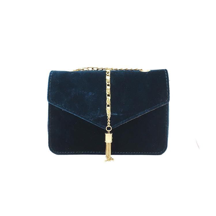 Crossbody Tassel Velour Bag Blue