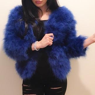 Ostrich Feather Jacket Blue