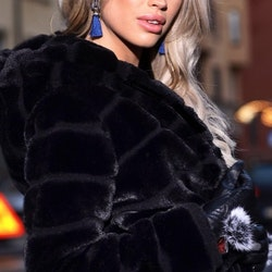 Huda Hooded Faux Fur Jacket Black