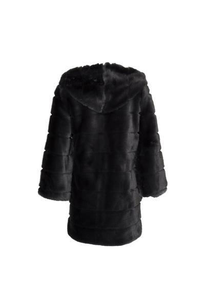 Huda Hooded Faux Fur Jacket Long