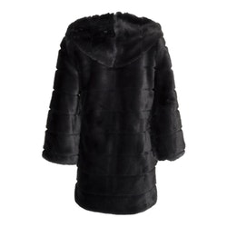 Huda Hooded Faux Fur Jacket Long